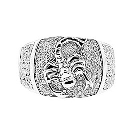 Mens Diamond Scorpion Pinky Band Ring 14K White Gold 1.04 ct
