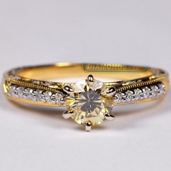 GIA 18K Yellow Gold 1.04 ct Fancy Diamond Womens Engagement Ring