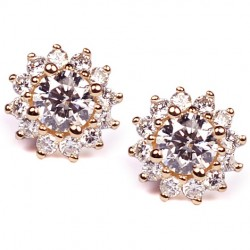 14K Yellow Gold 1.64 ct Diamond Womens Flower Stud Earrings