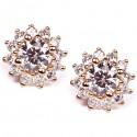 14K Yellow Gold 1.64 ct Diamond Womens Flower Stud Earrings