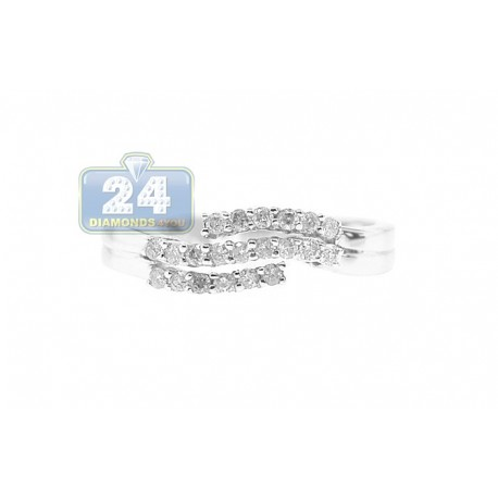 14K White Gold 0.30 ct 3 Row Diamond Wave Womens Band Ring
