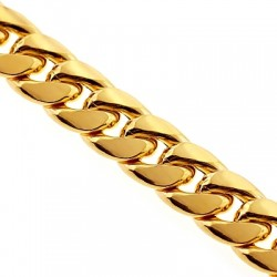 10K Yellow Gold Puff Miami Cuban Link Mens Chain 7.5 mm