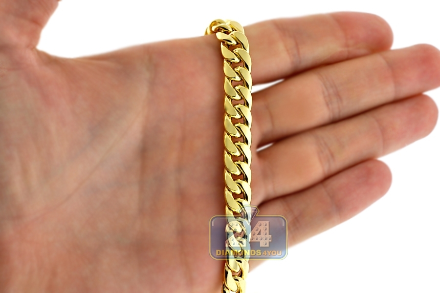 10k Gold Cuban Link Chain >> Italian 10K Yellow Gold Hollow Miami Cuban Link Mens Chain ...