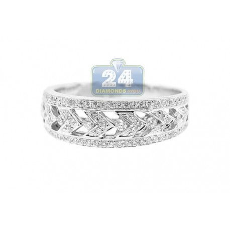 14K White Gold 0.40 ct Diamond Womens Decorated Band Ring