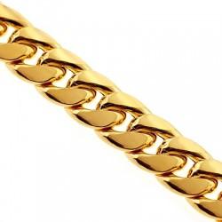 10K Yellow Gold Puff Miami Cuban Link Mens Chain 11 mm