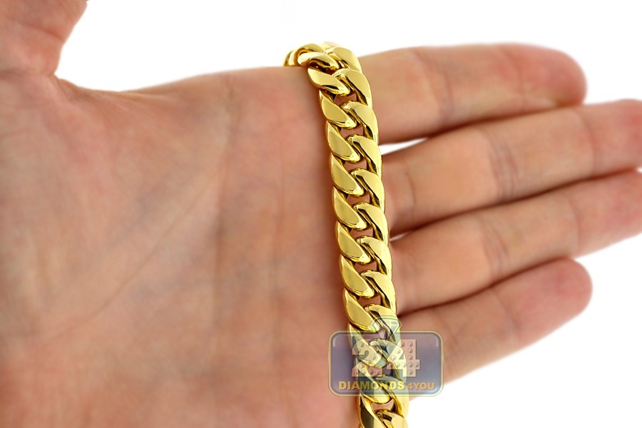 10k Gold Cuban Link Chain >> Hollow 10K Yellow Gold Puff Miami Cuban Link Mens Chain 11 mm