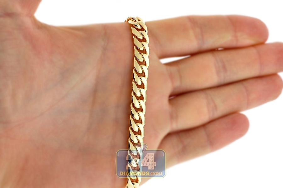 Solid 10k Yellow Gold Miami Cuban Link Mens Chain Necklace