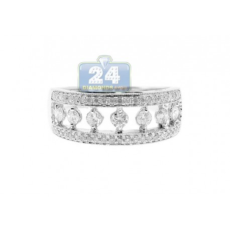 14K White Gold 0.68 ct Diamond Womens Band Ring