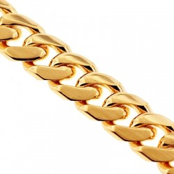 Solid 10K Yellow Gold Miami Cuban Link Mens Chain 3.4 mm