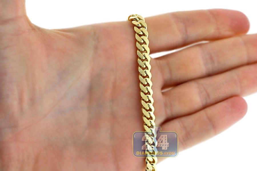 b8dcb57ee Solid 10K Yellow Gold Miami Cuban Link Mens Chain Necklace 7 mm