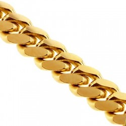 Solid 10K Yellow Gold Miami Cuban Link Mens Chain 3.5 mm