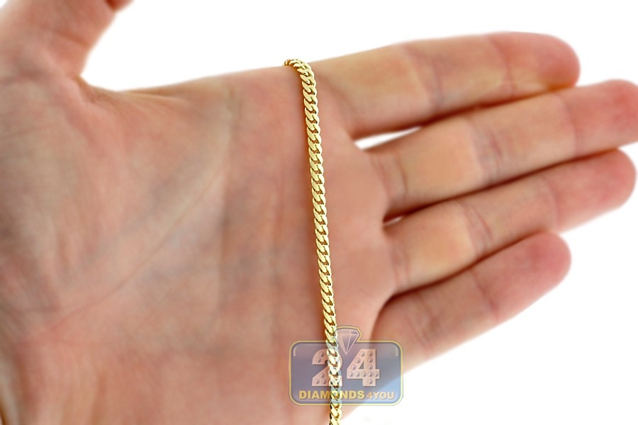 Solid 10k Yellow Gold Miami Cuban Link Mens Chain 3 5mm