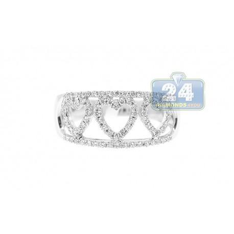 14K White Gold 0.33 ct Diamond Heart Band Ring