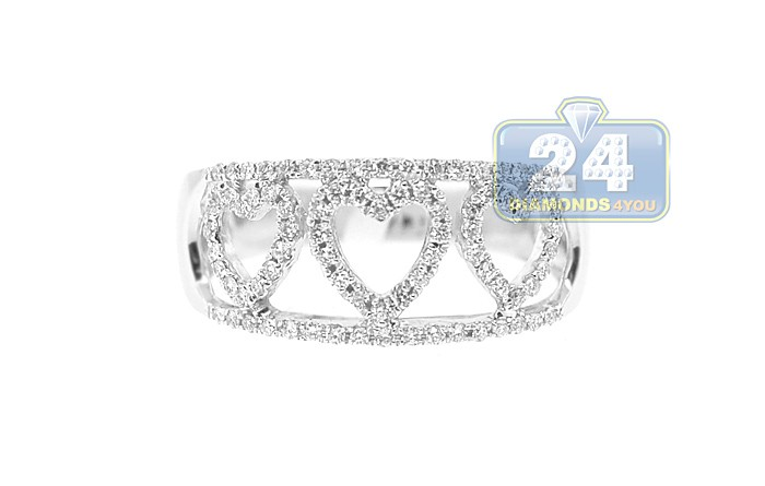 White Gold 0 33 ct Diamond Heart Band Ring