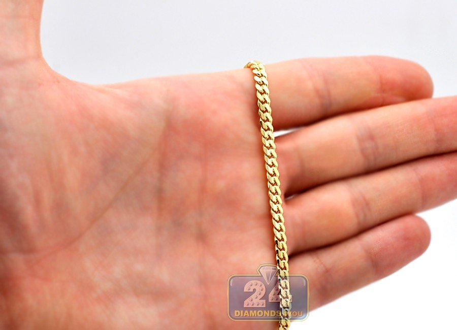 Real 14k Yellow Gold Solid Miami Cuban Link Mens Chain 4 Mm