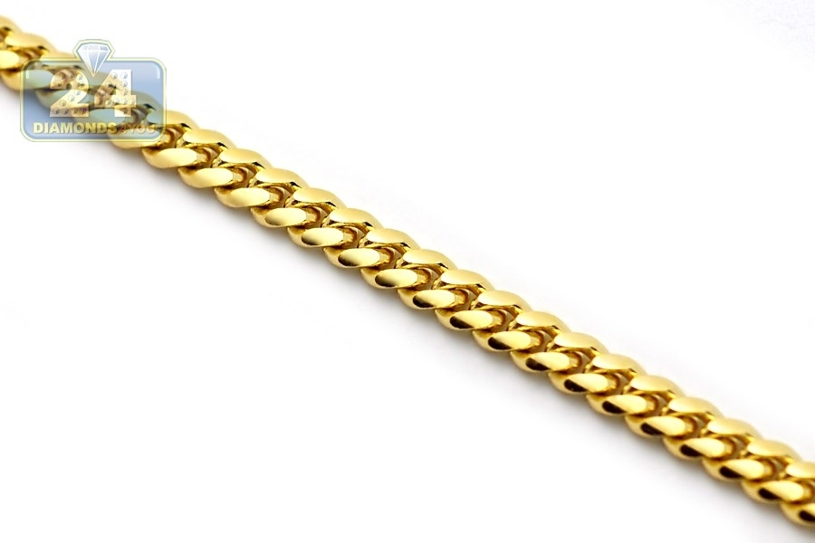 14k solid gold handmade miami cuban curb link real 14k yellow gold solid miami cuban link mens chain 4 mm