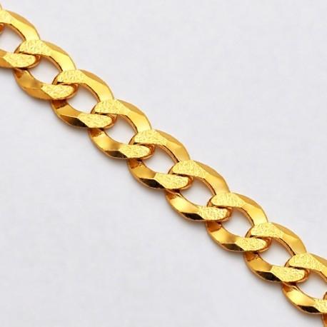 14K Yellow Gold Solid Diamond Cut Cuban Link Mens Chain 7 mm