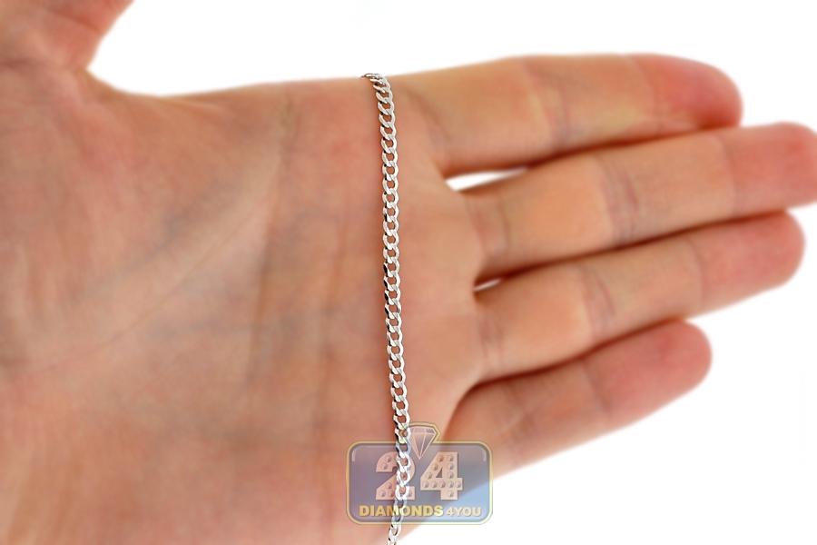 14k white gold solid flat cuban link mens chain 3 mm aloadofball Choice Image
