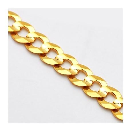 Italian 14K Yellow Gold Solid Flat Cuban Link Mens Chain 7 mm