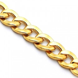 Italian 10K Yellow Gold Hollow Flat Cuban Link Mens Chain 6mm