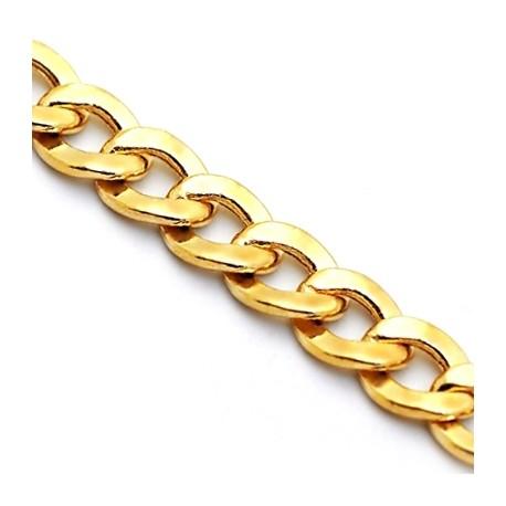 Italian 10K Yellow Gold Hollow Flat Cuban Link Mens Chain 6mm