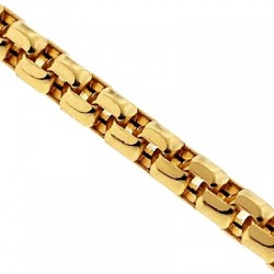 Italian 14K Yellow Gold Diamond Cut Puff Box Mens Chain 3.5mm