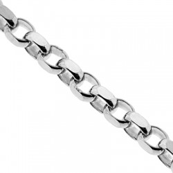 14K White Gold Round Cable Link Mens Chain 4 mm 30 Inches