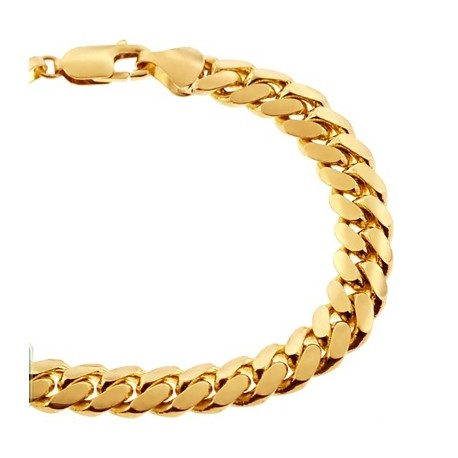 Solid 10K Yellow Gold Miami Cuban Link Mens Bracelet 9mm 9""