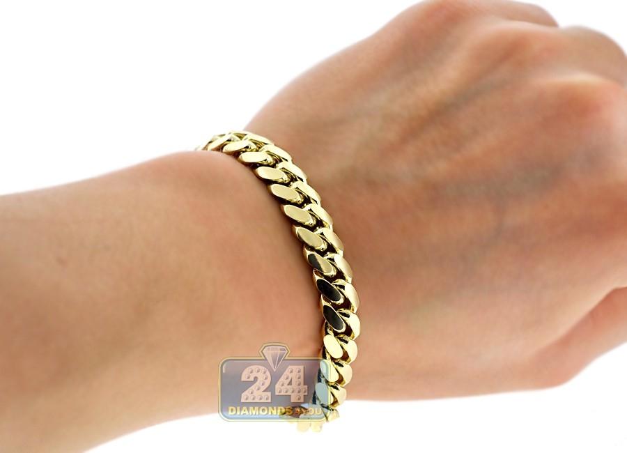 Solid 10k Yellow Gold Miami Cuban Link Mens Bracelet 9mm 9 Quot