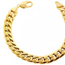 10K Yellow Gold Puff Miami Cuban Link Mens Bracelet 11mm 9""