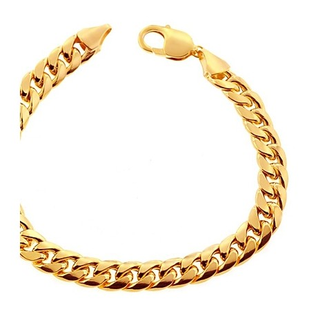 Hollow 10K Yellow Gold Miami Cuban Link Mens Bracelet 9.5mm 9""