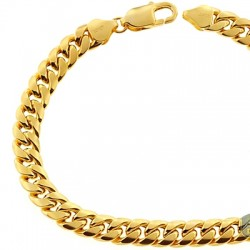 10K Yellow Gold Puff Miami Cuban Link Mens Bracelet 7.5mm 9""