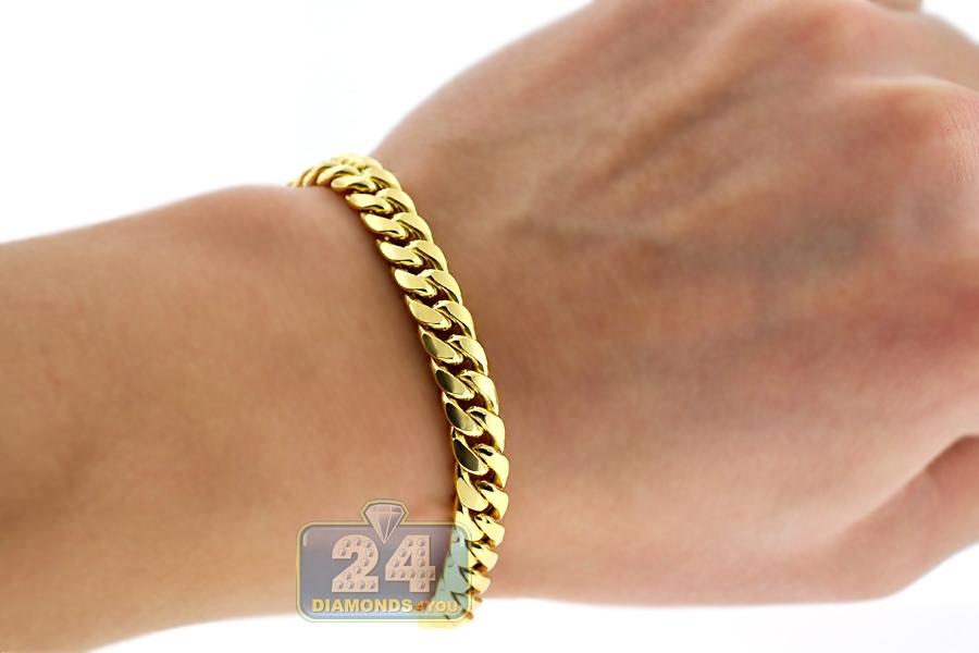 10k Yellow Gold Puff Miami Cuban Link Mens Bracelet 7 5mm 9 Quot