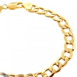 10K Yellow Gold Hollow Cuban Link Mens Bracelet 8.5 mm 9 Inches