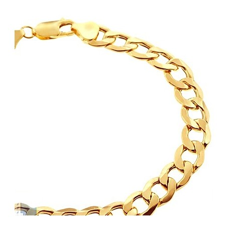 Real 10K Yellow Gold Hollow Cuban Link Mens Bracelet 8.5mm 9""