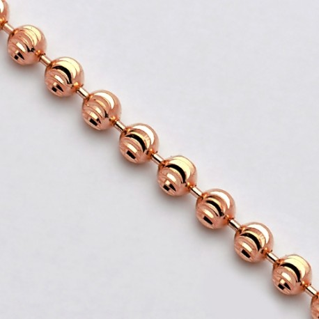 Solid 14K Rose Gold Moon Cut Bead Mens Army Chain Necklace 5mm