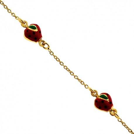"Solid 14K Yellow Gold Strawberry Charm Baby Kids Bracelet 5.75"""