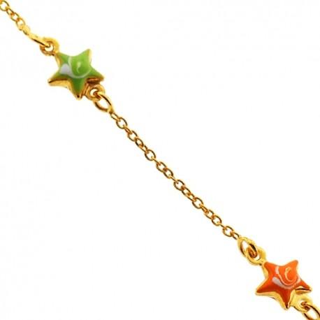 "Solid 14K Yellow Gold Star Charm Baby Kids Bracelet 5.75"""