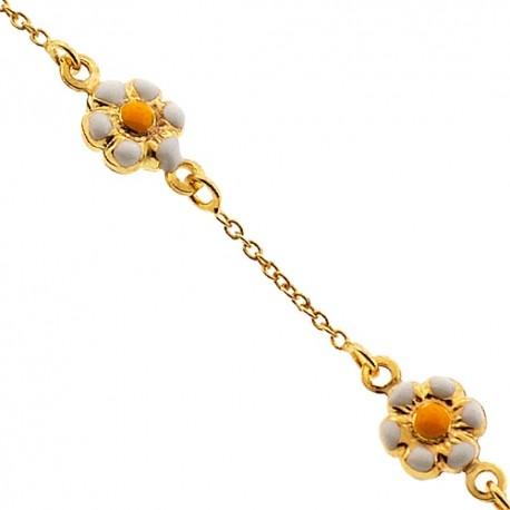 "Solid 14K Yellow Gold Flower Charm Baby Kids Bracelet 5.75"""