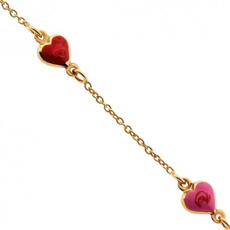 "Solid 14K Yellow Gold Heart Charm Baby Kids Bracelet 5.75"""