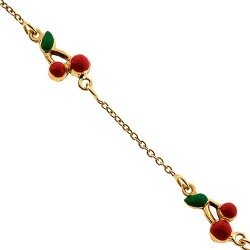 Solid 14K Yellow Gold Cherry Charm Baby Kids Bracelet 5.75""
