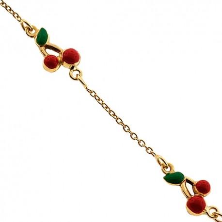 "Solid 14K Yellow Gold Cherry Charm Baby Kids Bracelet 5.75"""