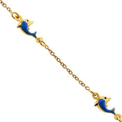 14K Yellow Gold Dolphin Charm Baby Bracelet 5 3/4 Inches