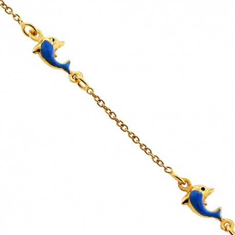 """Solid 14K Yellow Gold Dolphin Charm Baby Kids Bracelet 5.75"""""""