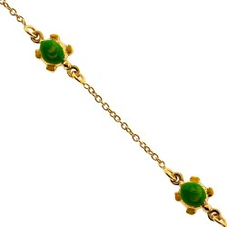 Solid 14K Yellow Gold Turtle Charm Baby Kids Bracelet 5.75""