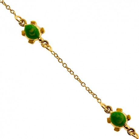 """Solid 14K Yellow Gold Turtle Charm Baby Kids Bracelet 5.75"""""""