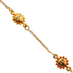 Solid 14K Yellow Gold Sun Charm Baby Kids Bracelet 5.75""