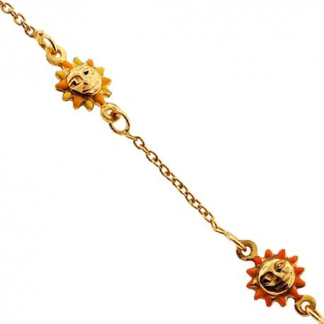 "Solid 14K Yellow Gold Sun Charm Baby Kids Bracelet 5.75"""