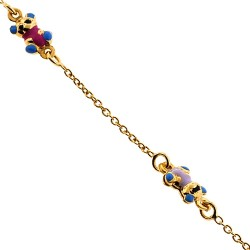 14K Yellow Gold Bear Charm Baby Bracelet 5 3/4 Inches