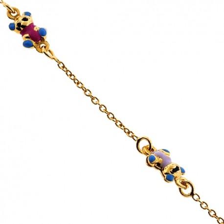 "Solid 14K Yellow Gold Bear Charm Baby Kids Bracelet 5.75"""